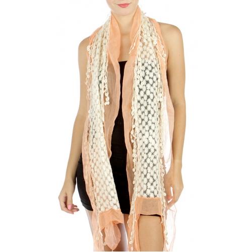 wholesale D02 Cotton blend lace scarf Coral fashionunic