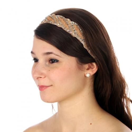 wholesale N35 Beaded leaves headband Green fashionunic