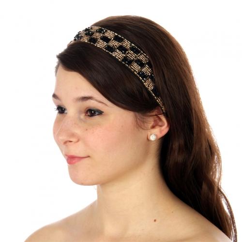wholesale N35 Beaded checks headband Black fashionunic