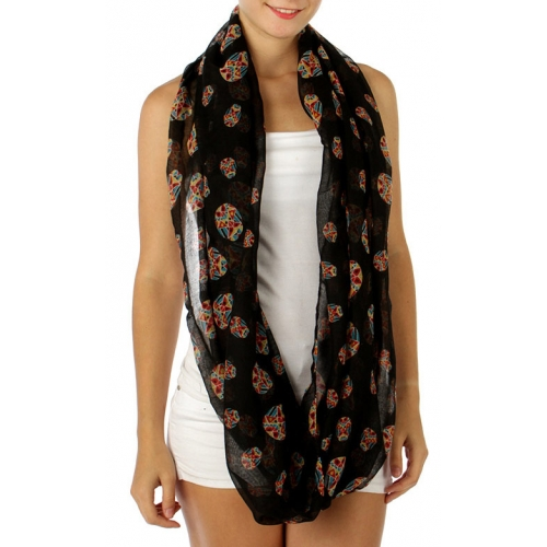 wholesale H05 Aztec insect infinity scarf Black