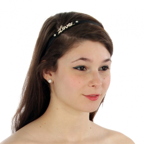 wholesale N36 Pave love leather headband Black/Gold
