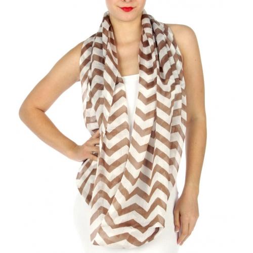 wholesale I12 Chevron Cotton infinity scarf Black