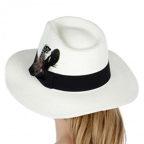 wholesale K30BX2 Feathered paper panama hat White