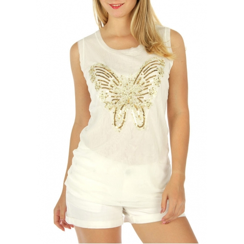 wholesale G36 Metallic sequin butterfly top Ivory