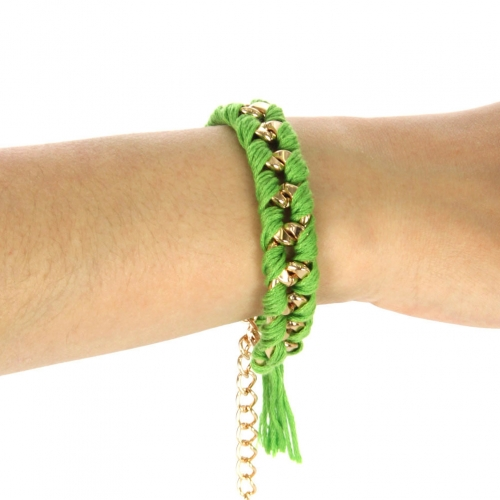 Wholesale N38 Gold metallic-woven threads bracelet Gold/Solid Green