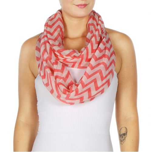 wholesale H19 Chevron infinity scarf Coral fashionunic