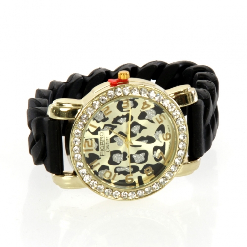 wholesale N45 Ladies rubber stone watch 325 Black/Gold