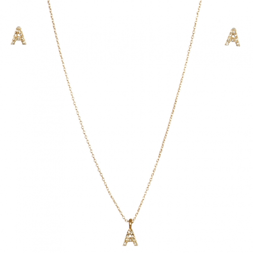 wholesale N33 Crystal initial 'A' set Gold fashionunic