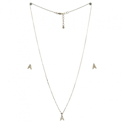 wholesale N33 Crystal initial 'A' set Rhodium