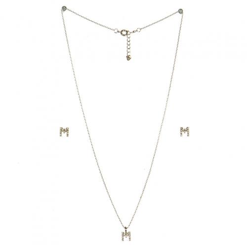 wholesale N33 Crystal initial 'M' set Rhodium