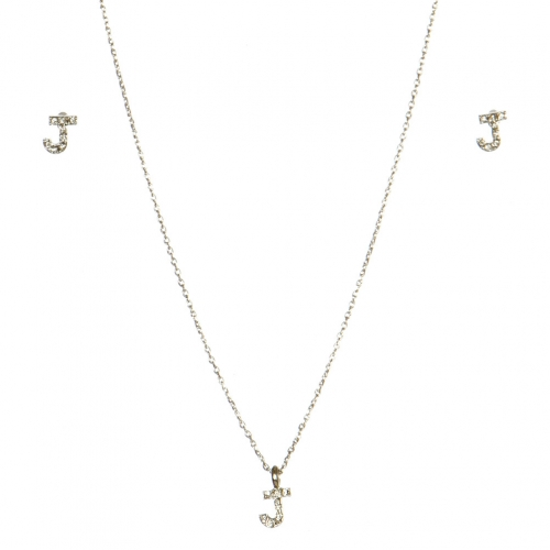 wholesale N33 Crystal initial 'J' set Rhodium