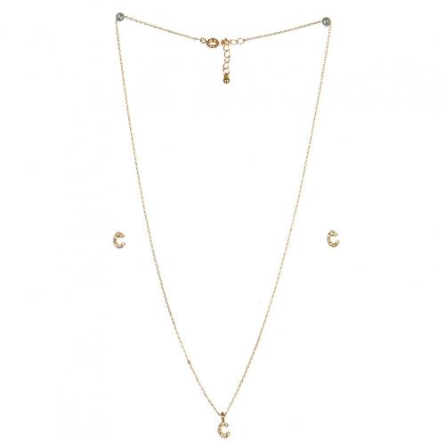 wholesale N33 Crystal initial 'C' set Gold fashionunic