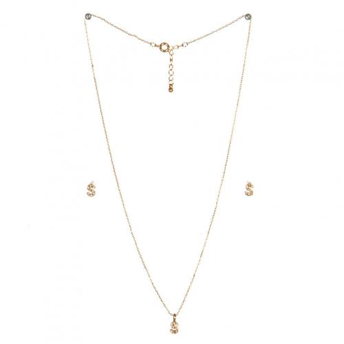 wholesale N33 Crystal initial 'S' set Gold fashionunic