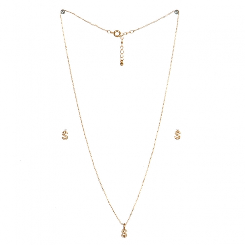 wholesale N33 Crystal initial 'S' set Gold fashionunic