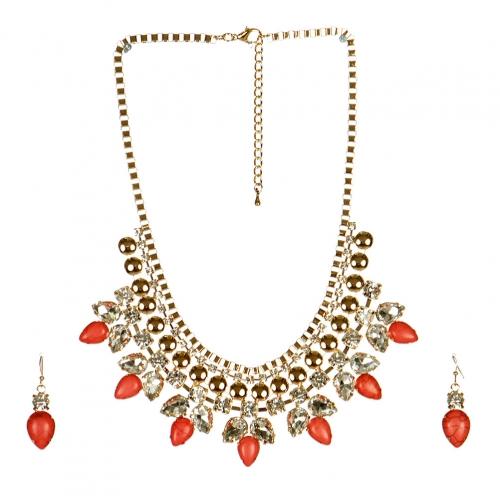 wholesale N38 Gem bib necklace set Pink fashionunic
