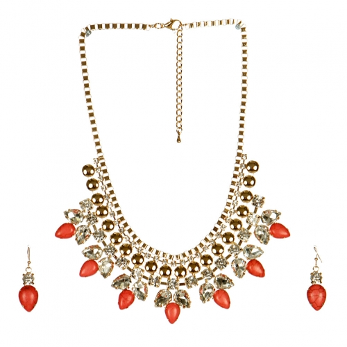 wholesale N38 Gem bib necklace set Pink fashionunic