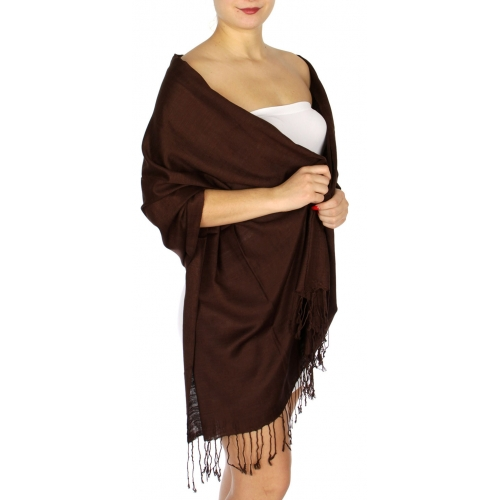 wholesale D01 Silky Light Wedding Pashmina 07 Chocolate