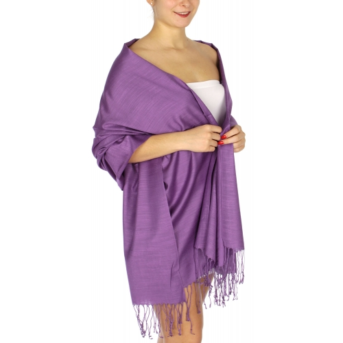 wholesale D01 Silky Light Wedding Pashmina 16 Purple