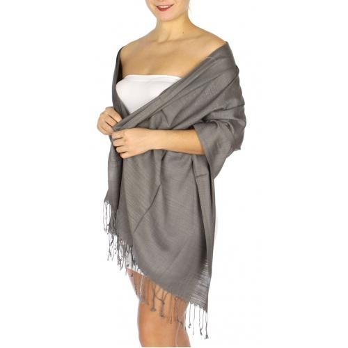 wholesale D01 Silky Light Wedding Pashmina 22 Grey