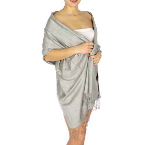 wholesale D01 Silky Light Wedding Pashmina 28 Light Grey