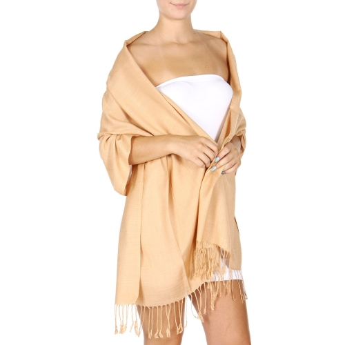 wholesale D01 Silky Light Wedding Pashmina 29 Beige