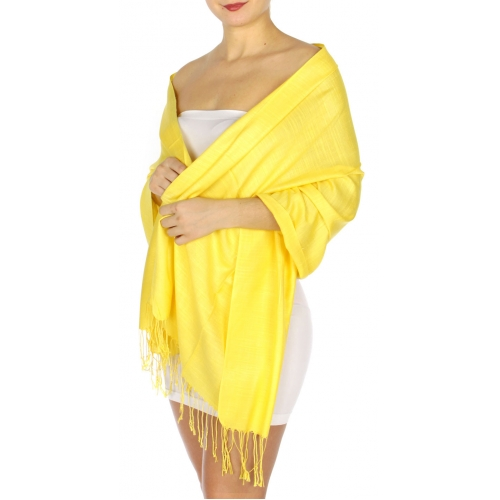 wholesale D01 Silky Light Wedding Pashmina 33 Yellow