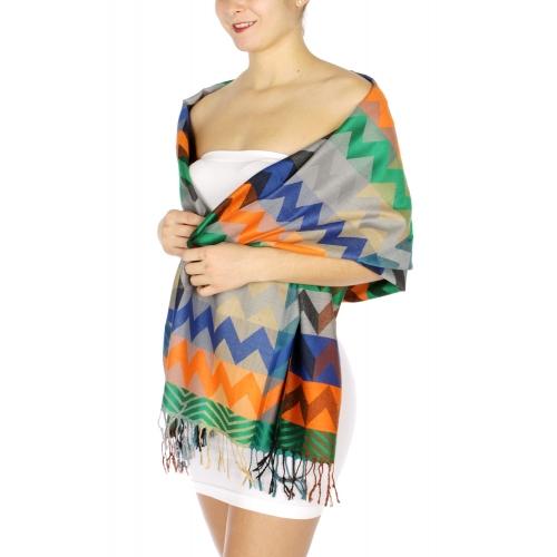 wholesale D10 Multi color chevron pashmina color 01
