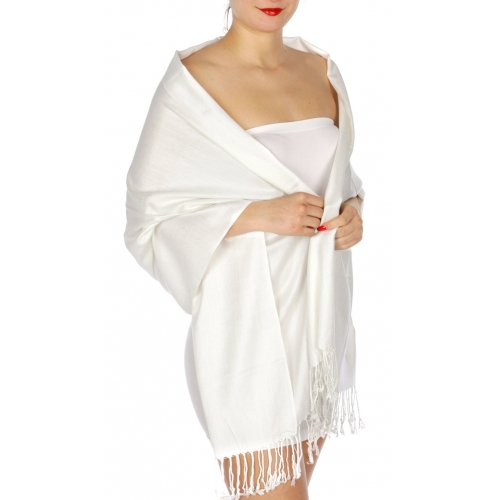 wholesale D45 Silky Solid Wedding Pashmina 02 White