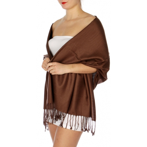 wholesale D45 Silky Solid Wedding Pashmina 07 D Brown