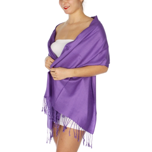 wholesale D45 Silky Solid Wedding Pashmina 09 Purple