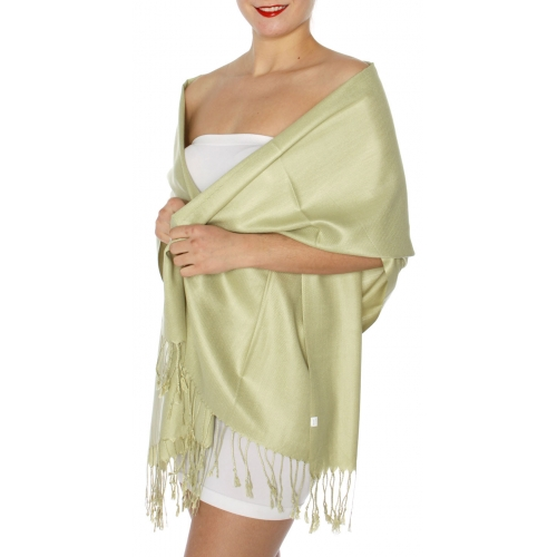 wholesale D45 Silky Solid Wedding Pashmina 14 M Green