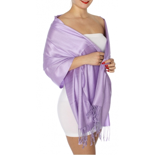 wholesale D45 Silky Solid Wedding Pashmina 16 Lavender