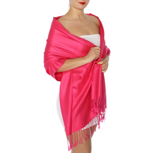 wholesale D45 Silky Solid Wedding Pashmina 19 Fuchsia