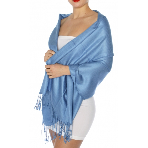wholesale D45 Silky Solid Wedding Pashmina 20 Blue