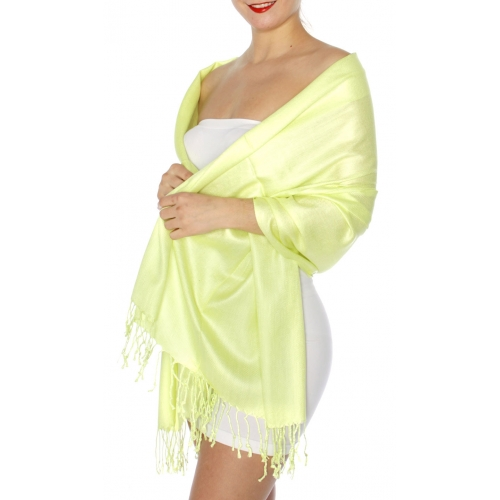 wholesale D45 Silky Solid Wedding Pashmina 24 Key Lime