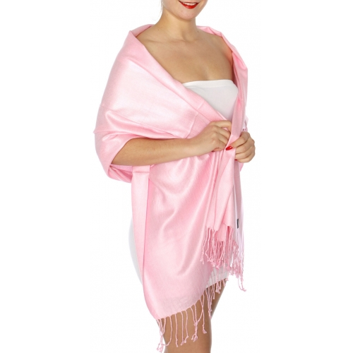wholesale D45 Silky Solid Wedding Pashmina 31 Pink