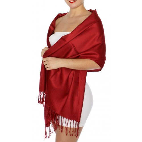 wholesale D45 Silky Solid Wedding Pashmina 35 L Wine