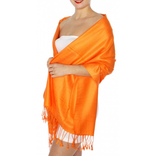 wholesale D45 Silky Solid Wedding Pashmina 39 Orange