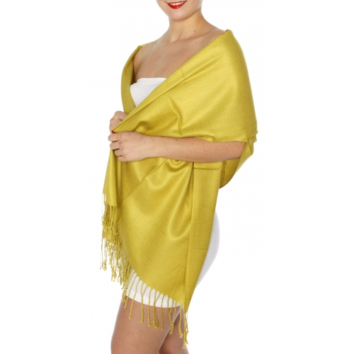 wholesale D45 Silky Solid Wedding Pashmina 40 Green Gold