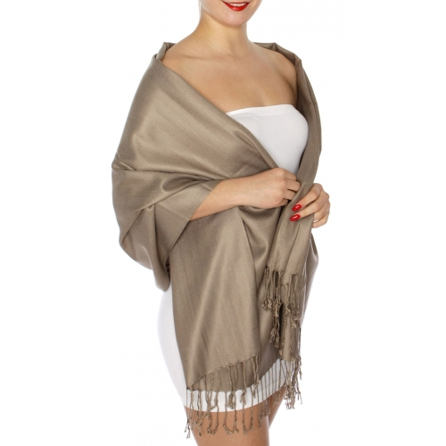wholesale D45 Silky Solid Wedding Pashmina 43 Mocha