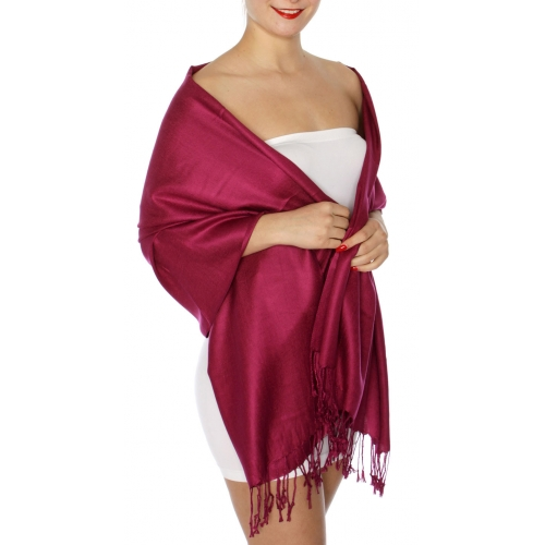 wholesale D45 Silky Solid Wedding Pashmina 46 Cabernet