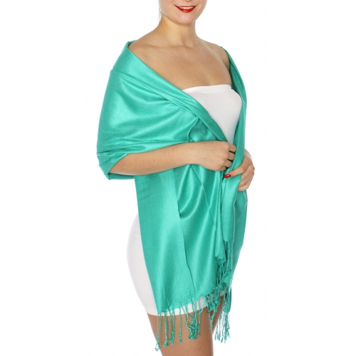 wholesale D45 Silky Solid Wedding Pashmina 48 Jade Green