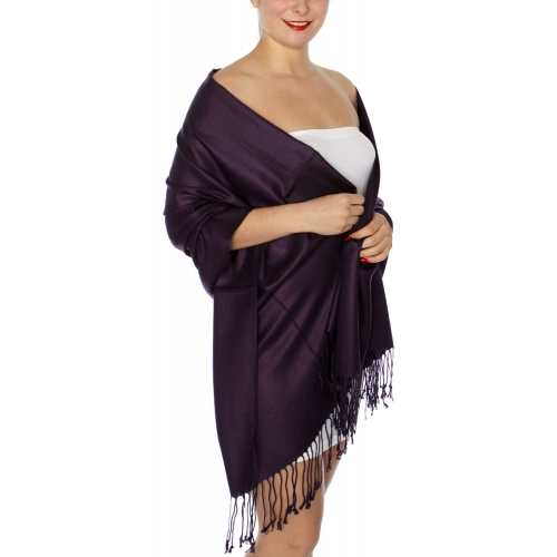wholesale D45 Silky Solid Wedding Pashmina 49 G Violet