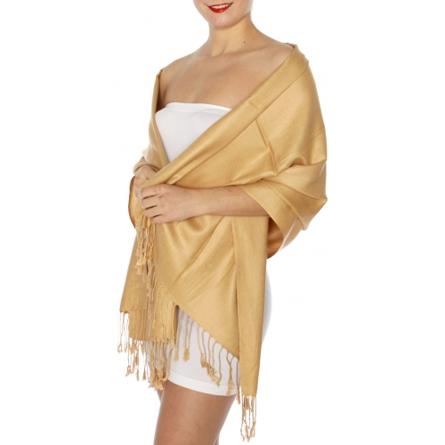 wholesale D45 Silky Solid Wedding Pashmina 50 Camel