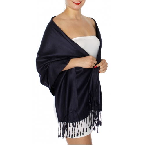 wholesale D45 Silky Solid Wedding Pashmina 62 Deep Navy