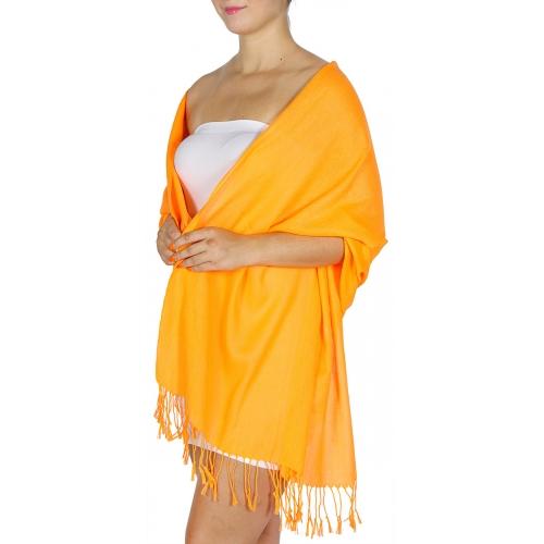 wholesale D12 Neon silky solid pashmina 802 Orange