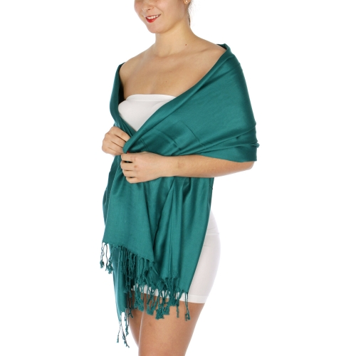 wholesale D36 Solid HD Wedding Pashmina 13 Teal