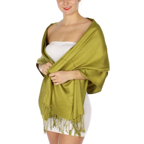 wholesale D36 Solid HD Wedding Pashmina 15 Green