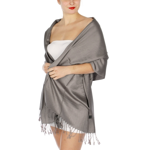 wholesale D36 Solid HD Wedding Pashmina 20 Grey