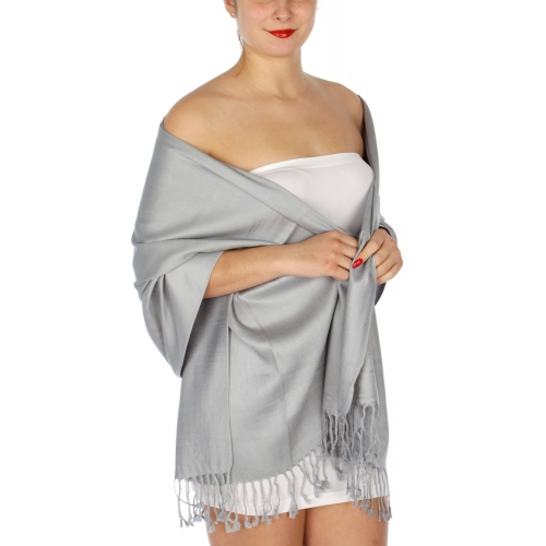 wholesale D36 Solid HD Wedding Pashmina 34 Silver